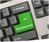 Keyboard - green key Contact us, business backgrou